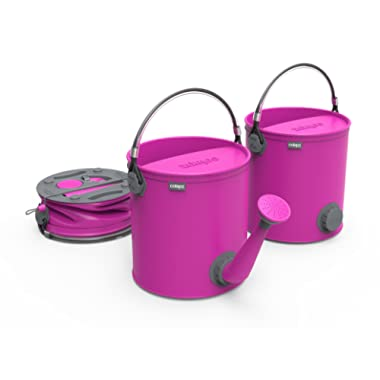 COLOURWAVE Collapsible 2-in-1 Watering Can/Bucket, 7-Liter, Candy Pink