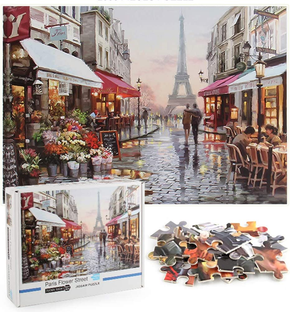 Hottong Puzzles for Adults 1000 Piece Jigsaw Puzzle -Paris Flower Street -Landscape Jigsaw Puzzles 1000 Pieces for Adults and Kids 70 x 50cm (27.56 x 19.69inch)