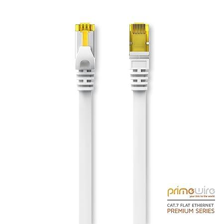 Primewire Cable de Red 10m Cat 7 Plano | Ethernet Cable de conexión a Ethernet LAN RJ45 | 10 Gbit/s | U/FTP | Compatible con Cat 5 / Cat 5e / Cat ...