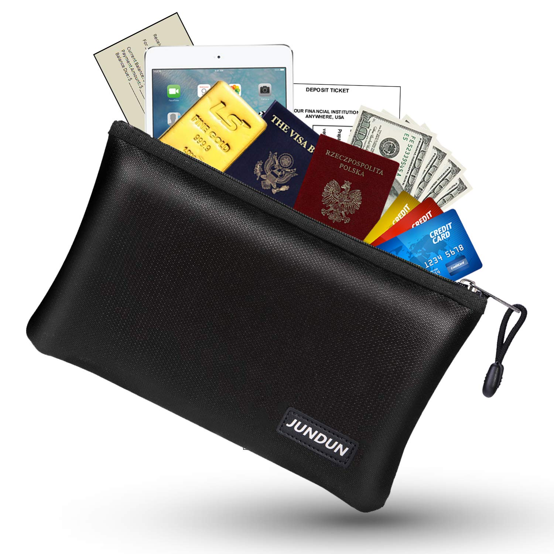 JUNDUN Fireproof Money Bag, 10.6''x6.7'' Fire and Water Resistant Cash Bag with Zipper Closure,Fireproof Safe Storage Pouch Envelope for A5 File Folder,Document, Bank Deposit,Passport,Jewelry by JUNDUN