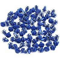 sourcing map 84Pcs 10mm Agujero Grapas Plástico Azul