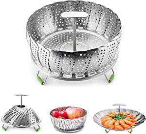 Steamer Basket Stainless Steel Vegetable Steamer Basket Folding Steamer Insert for Veggie Fish Seafood Cooking Expandable to Fit Various Size Pot 7