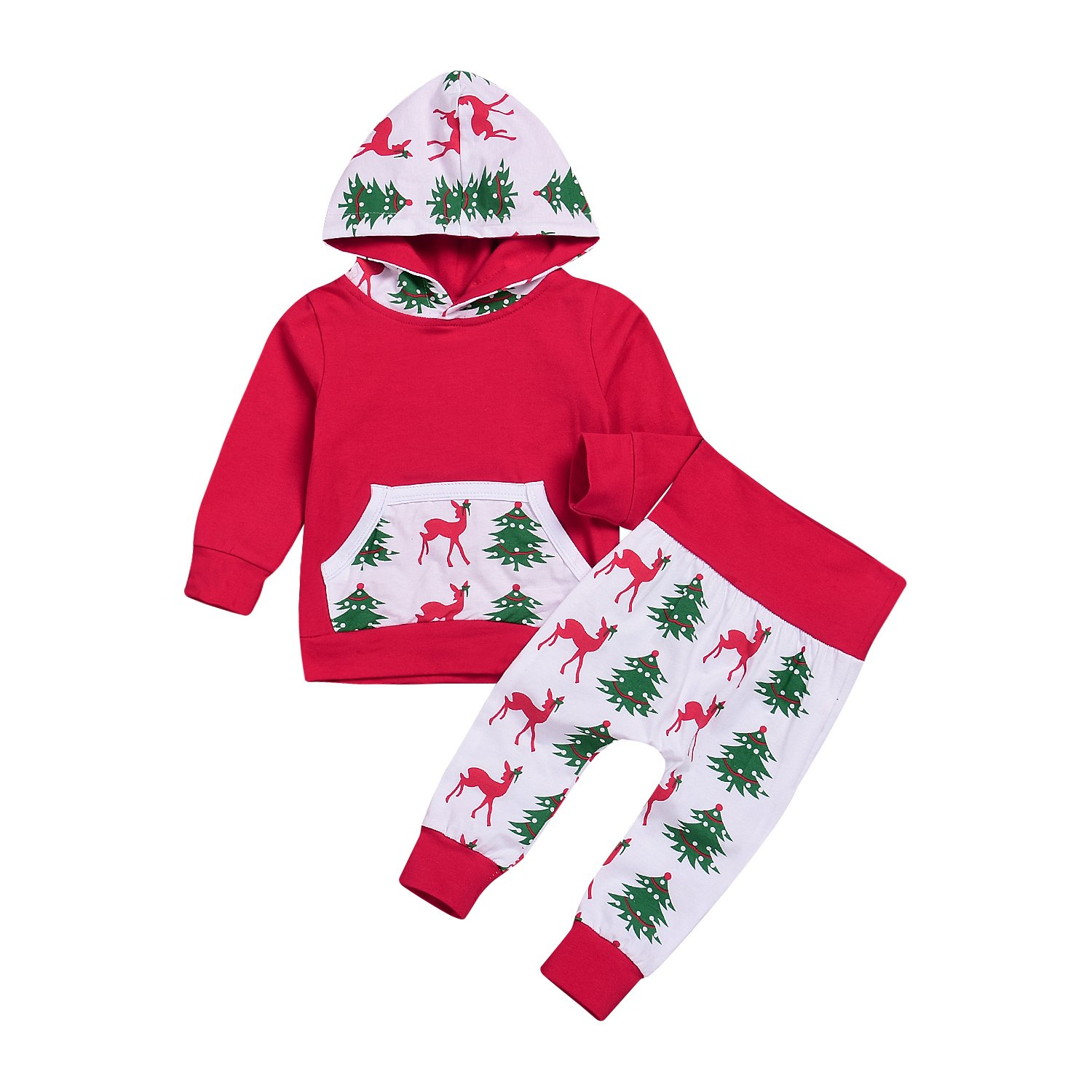 HappyMA Baby Boys Girls Christmas Clothes Deer& Tree Print Long Sleeve Hoodie+Long Pants Outfit