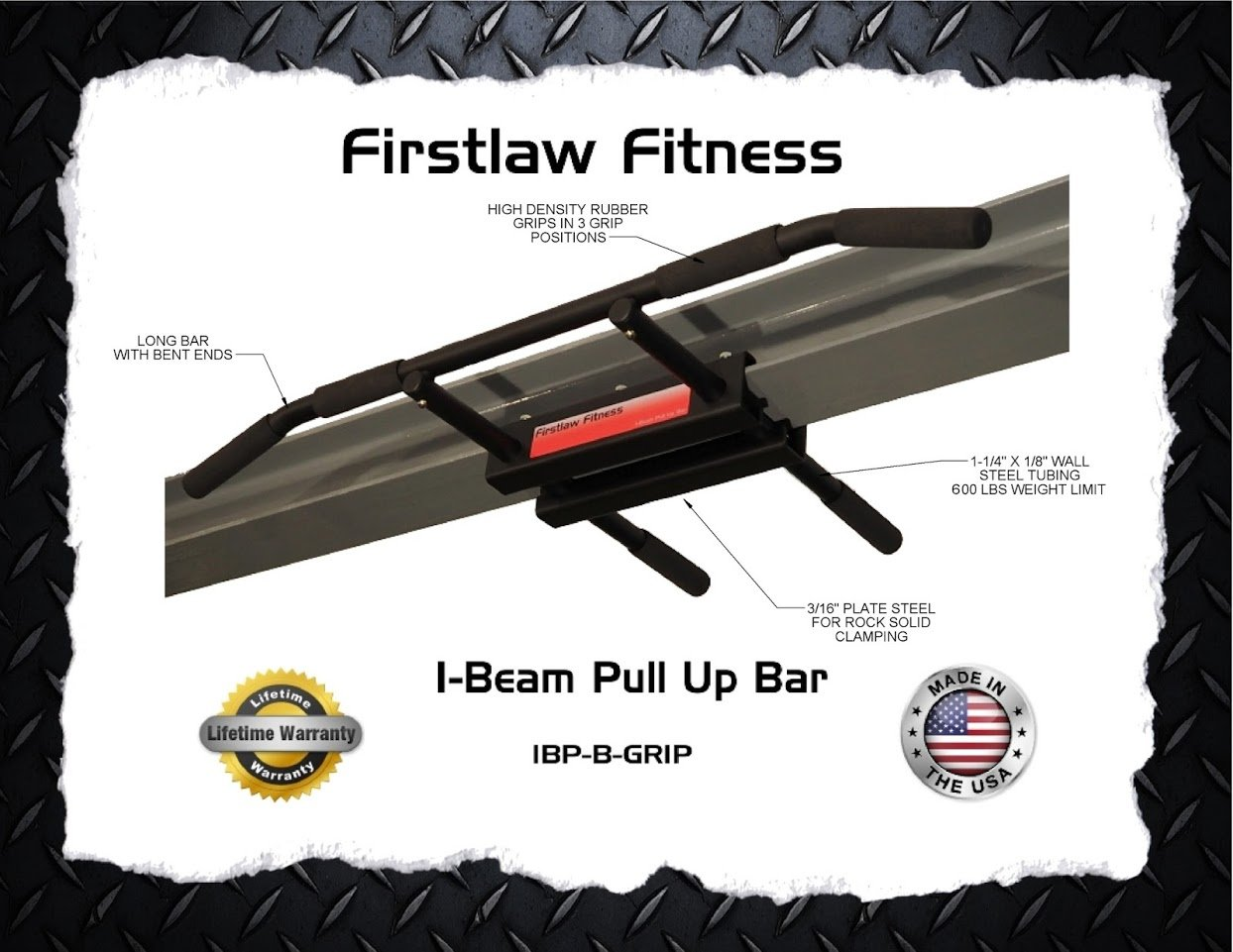 Firstlaw Fitness - 600 LBS Weight Limit - I-Beam Pull Up Bar - Long Bar with Bent Ends WITH Pull Up Assist - Durable Rubber Grips - Black Label - Made in the USA! by Firstlaw Fitness (Image #7)