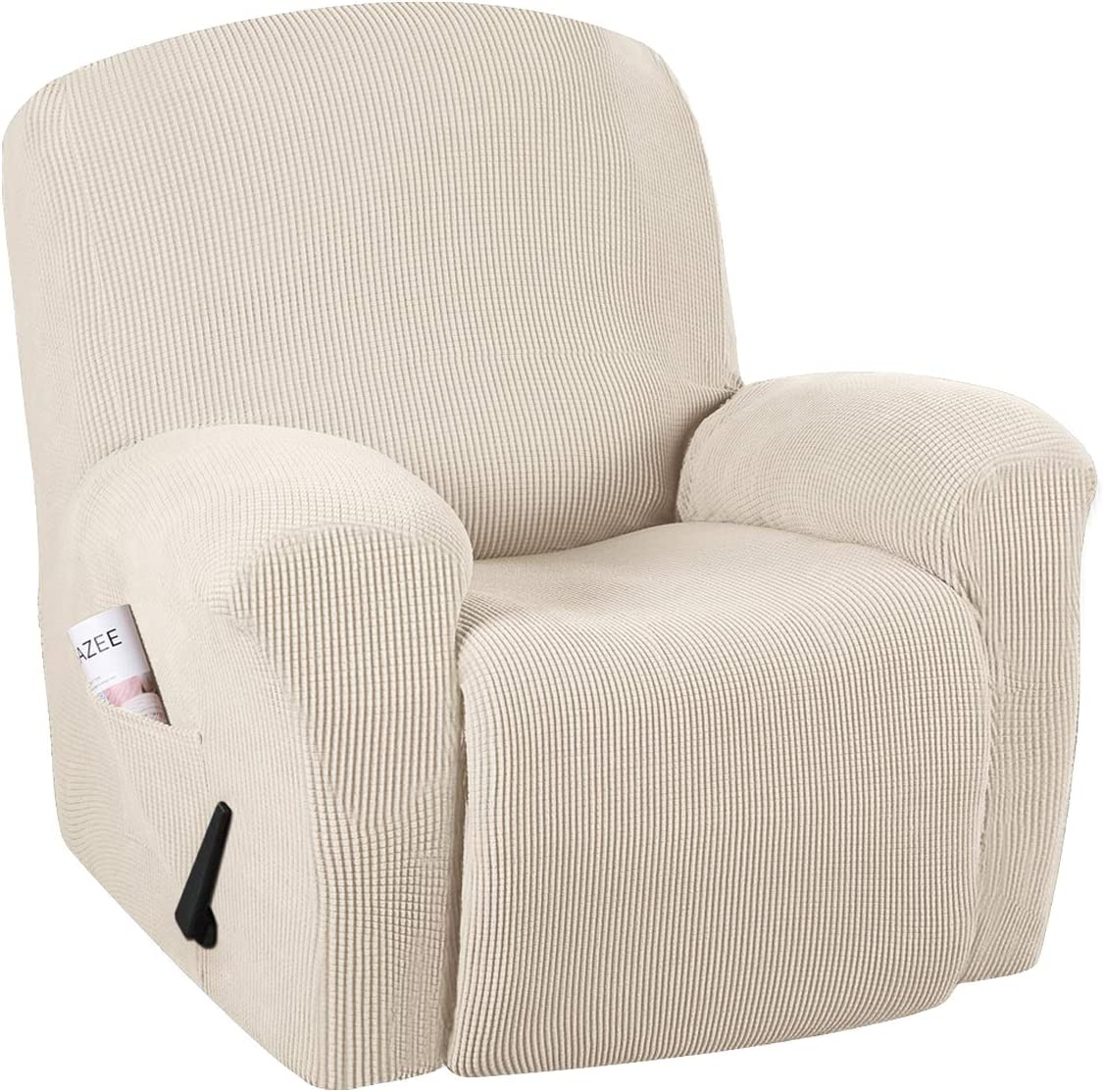 H.VERSAILTEX Super Stretch Couch Covers Recliner Covers Recliner Chair Covers Form Fitted Standard/Oversized Power Lift Reclining Slipcovers, Feature Soft Thick Jacquard, Beige, 1 Pack