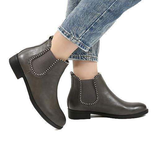 25b7365e80a42c Gracosy Bottines Hiver Femmes, Chaussures Plates Ville Talons Plats Boots  Chelsea Printemps Fourrure Bottes de