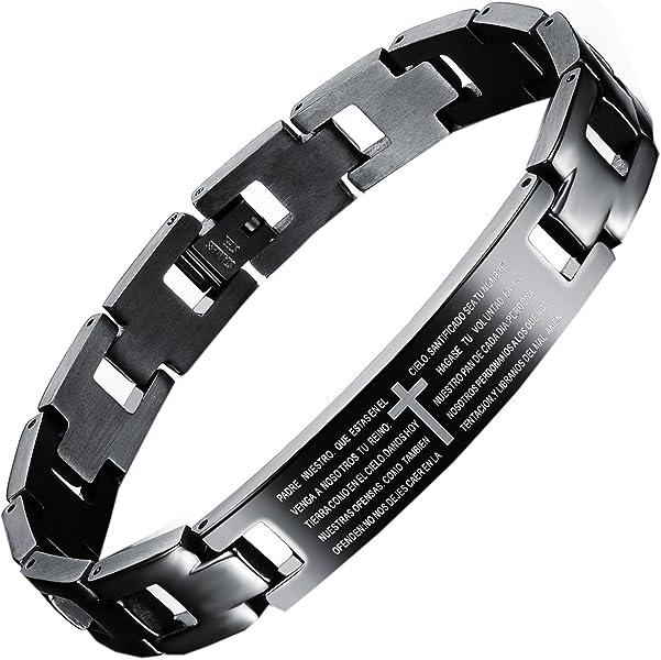 Croix Noir Prière Bracelet Anglais Hijones Titane Homme Lords shQxrtCdB