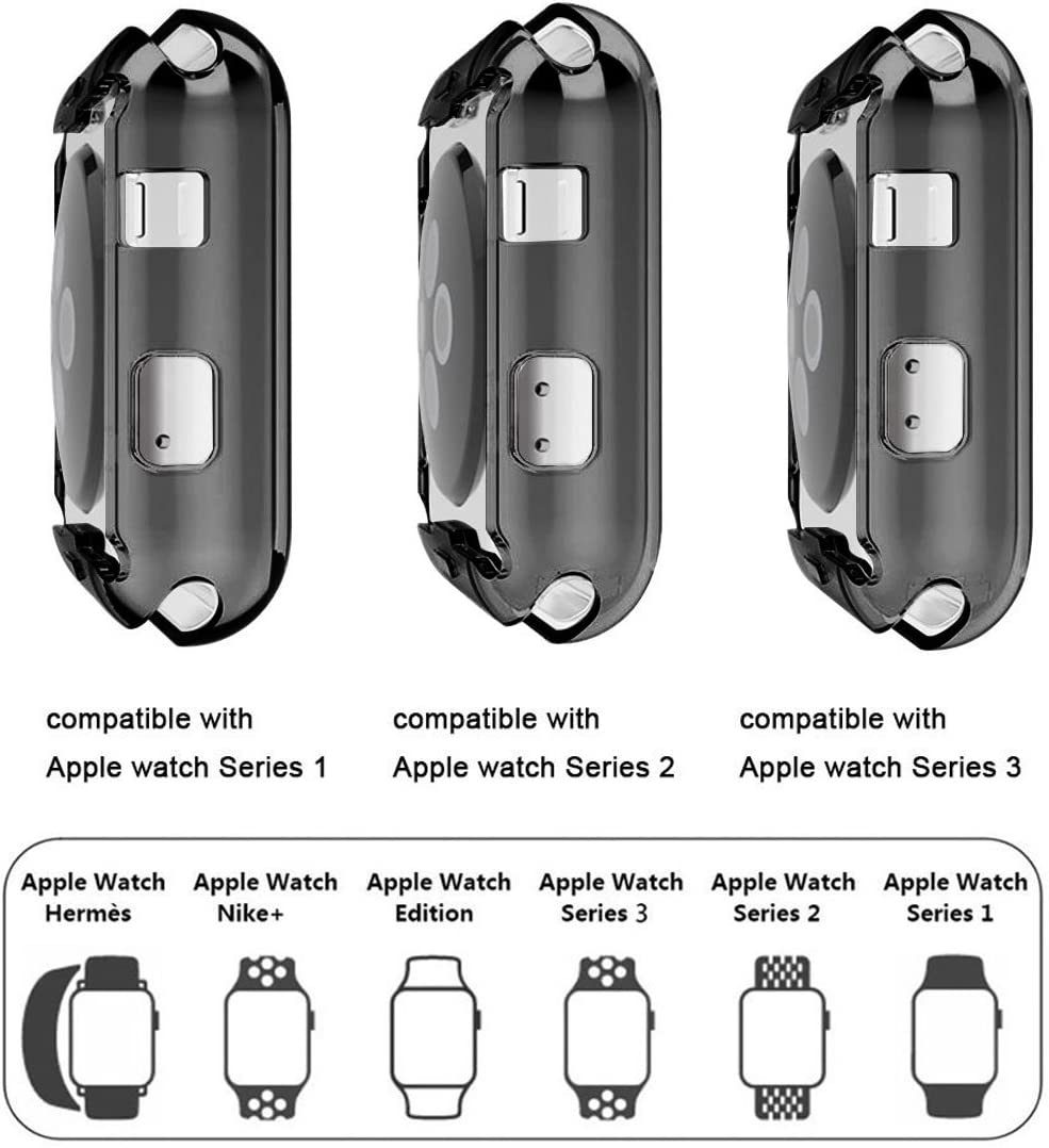 Black + Clear 2-Pack iiteeology Electroplate Slim Case with Screen Protector Compatible with Apple Watches 38mm