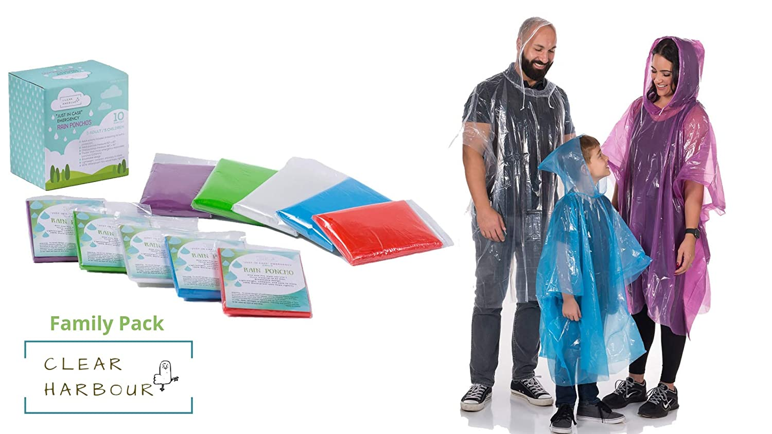 Clear Harbour Emergency Disposable Poncho Family Pack | Thick Reusable .03mm PE Plastic Rain Ponchos for Women, Men, and Children | Rain Poncho Family Pack for Disney