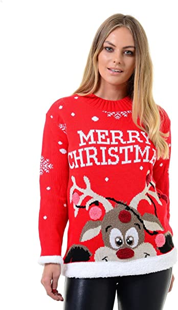 Womens Reindeers and SnowFlake Christmas Jumper Sizes 8 to 22