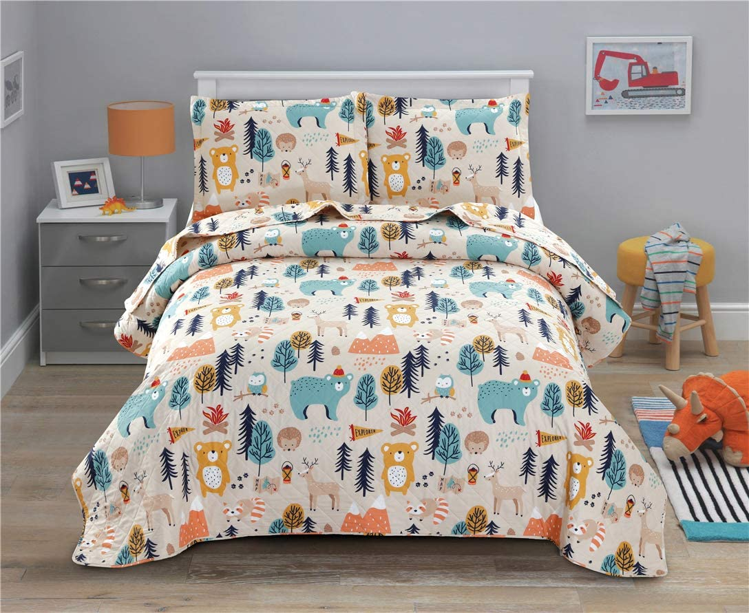 Junsey Kids Quilt Bedspreads Twin Size Bear Coverlet Set,3Pcs Forest Tree Deer Printed Quilts Set Lightweight Cartoon Bedspread Reversible Bedding Cover Pillow Shams