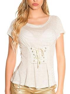 Koucla Croptop Top T-Shirt Shirt bauchfrei mit Schnürung