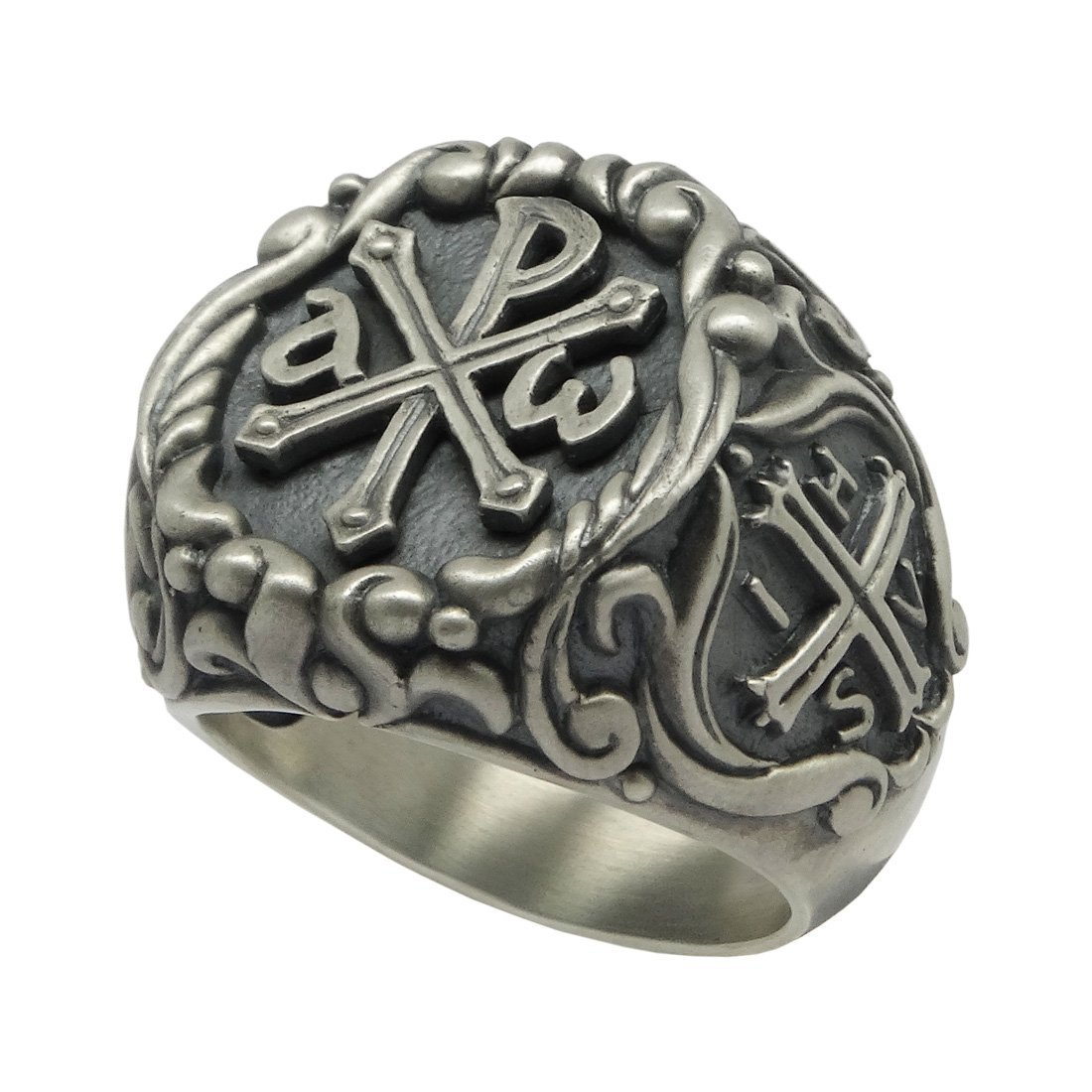 Knights Templar Chi Rho Sterling Silver 925 men's Ring , Alfa Omega Roman emperor Constantine IHSV Cross