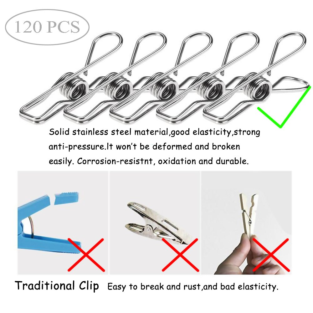 120 Pack Stainless Steel Cloth Pin, 2.2 Inch Clothesline Hook for Socks Towel Bag Scarfs Hang Drying Rack Tool, Laundry Kitchen Cord Wire Line Clothespins Pegs, File Paper Bookmark S Binder Metal Clip by Eleling (Image #1)