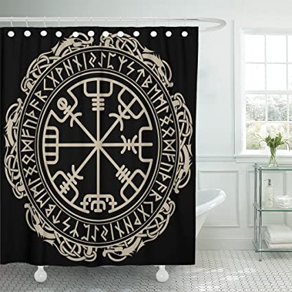 Emvency Shower Curtain Black Celtic Viking Design Magical Runic Compass Vegvisir In The Circle Of Norse