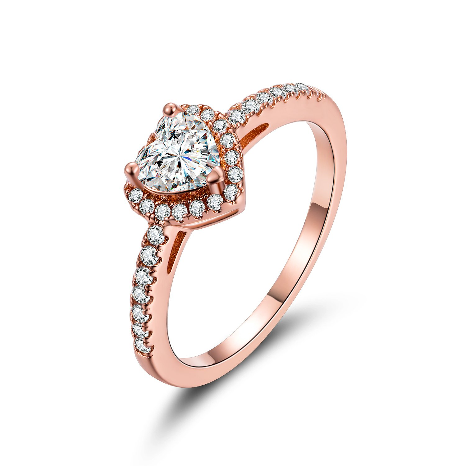 MDFUN Luxurious Rose Gold Plated Cubic Zirconia Infinity Love Solitaire Promise Eternity Ring RRC410
