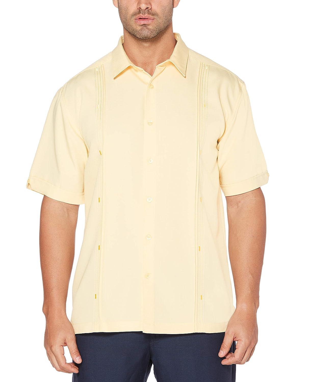 Cubavera Mens Short Sleeve Cuban Camp Shirt with Contrast Insert Panels