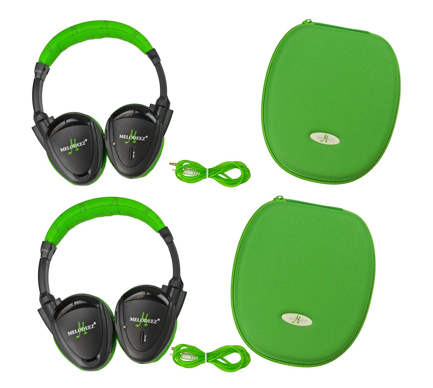 Wisconsin Auto Supply MDZHP-FF-Green Wireless Headphone (2 Channel Fold Flat DVD Player with Case and 3.5 mm Auxiliary Cord), 2 Pack by Wisconsin Auto Supply