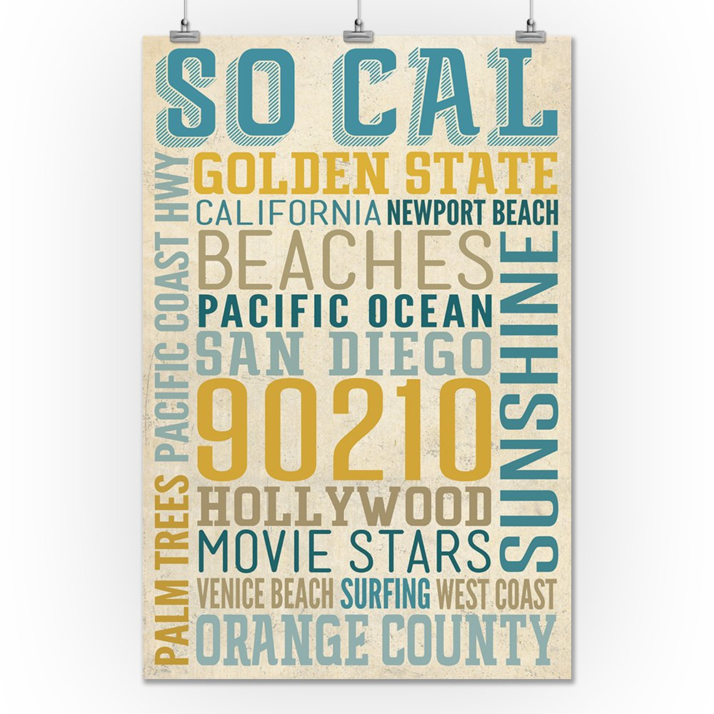 Amazon com: Southern California - Typography (12x18 Art