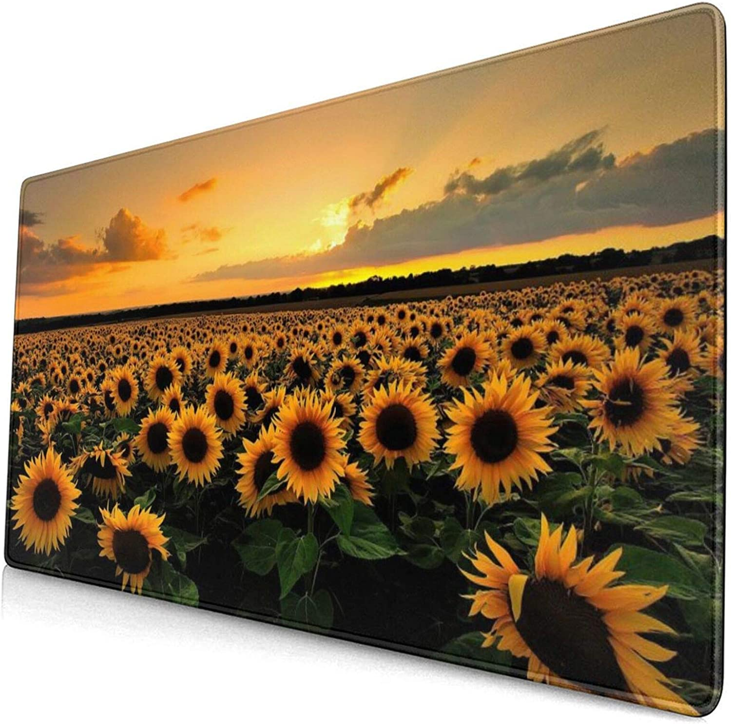 Sunflower Extended Gaming Mouse Pad with Stitched Edges,Sunset Flowers Landscape Long Mousepad (29.5x15.7in), Desk Pad Keyboard Mat, Non-Slip Base, Water-Resistant, for Work & Gaming, Office & Home