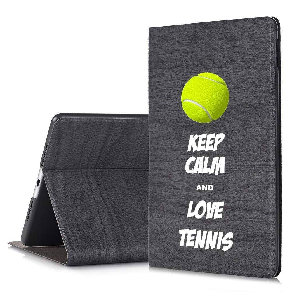 NickyPrints - iPad Pro 9.7用ブラックスリムツリーテクスチャデザイナースタンドケース - Keep Calm and Love Tennis Sports - デザインプリントフル保護カバー 2アングルスタンド付き   B07P1QVML6
