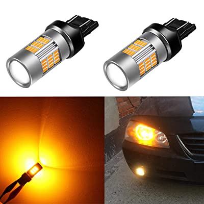 Alla Lighting 7440 7443 LED Amber Yellow Bulbs Super Bright T20 Wedge 54-SMD 4014 Chipsets Turn Signal Blinker Lights 12V 7444NAK 7440NAK WY21W: Automotive
