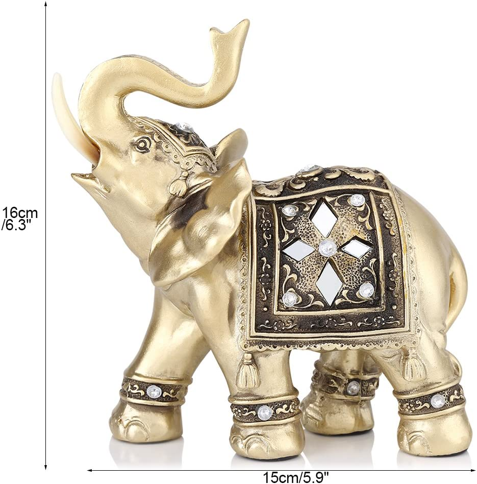 Gold Color Elephant Statue Elegant Elephant Trunk Statue Wealth Lucky Figurine Home Decor Gift M 15 14cm 5 9 5 5 Inch Amazon Ca Home Kitchen
