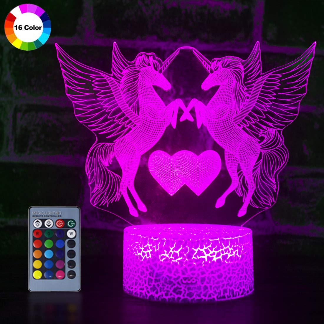 Unicorn 3D Night Light for Girls, Optical Illusion Light Kids Room Decor Lighting and Girls Bedside Lamp with Remote Control as Boys Or Girls Birthday Gift or Christmas Gift (Double Unicorn)