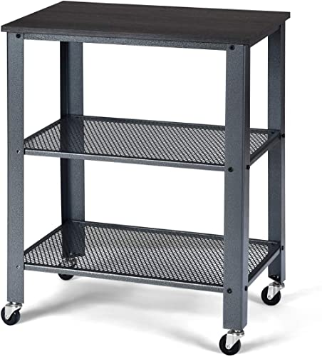 Giantex Microwave Cart Wooden 3-Tier W/Storage Shelf and Rolling Casters