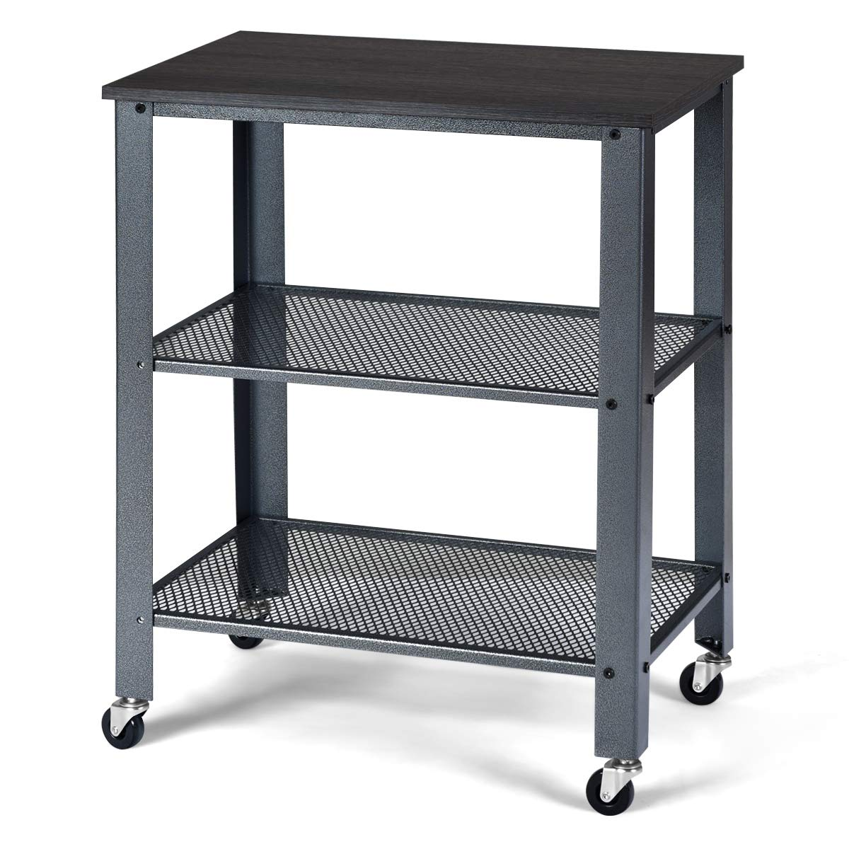 Giantex Microwave Cart Wooden 3-Tier W/Storage Shelf and Rolling Casters, Industrial Style Metal Frame for Kitchen, Living Room Accent Furniture for Living Room Rolling Serving Cart (Gray)