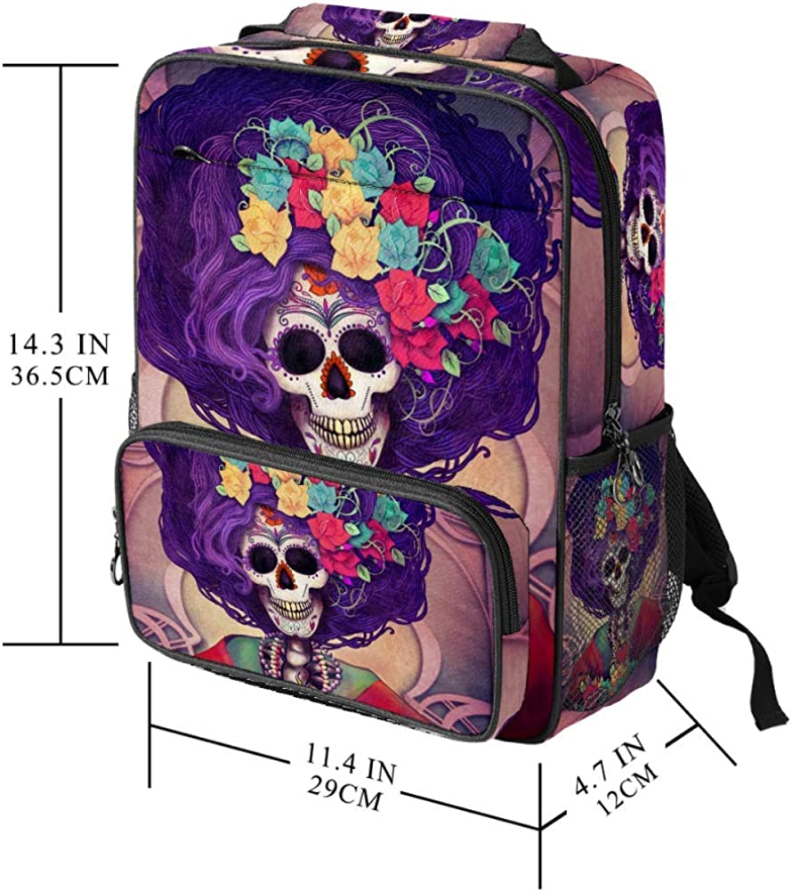 Day Of The Dead Catrina Print School Backpack Laptop Backpacks Casual Bookbags Daypack for Kids Girls Boys and Women
