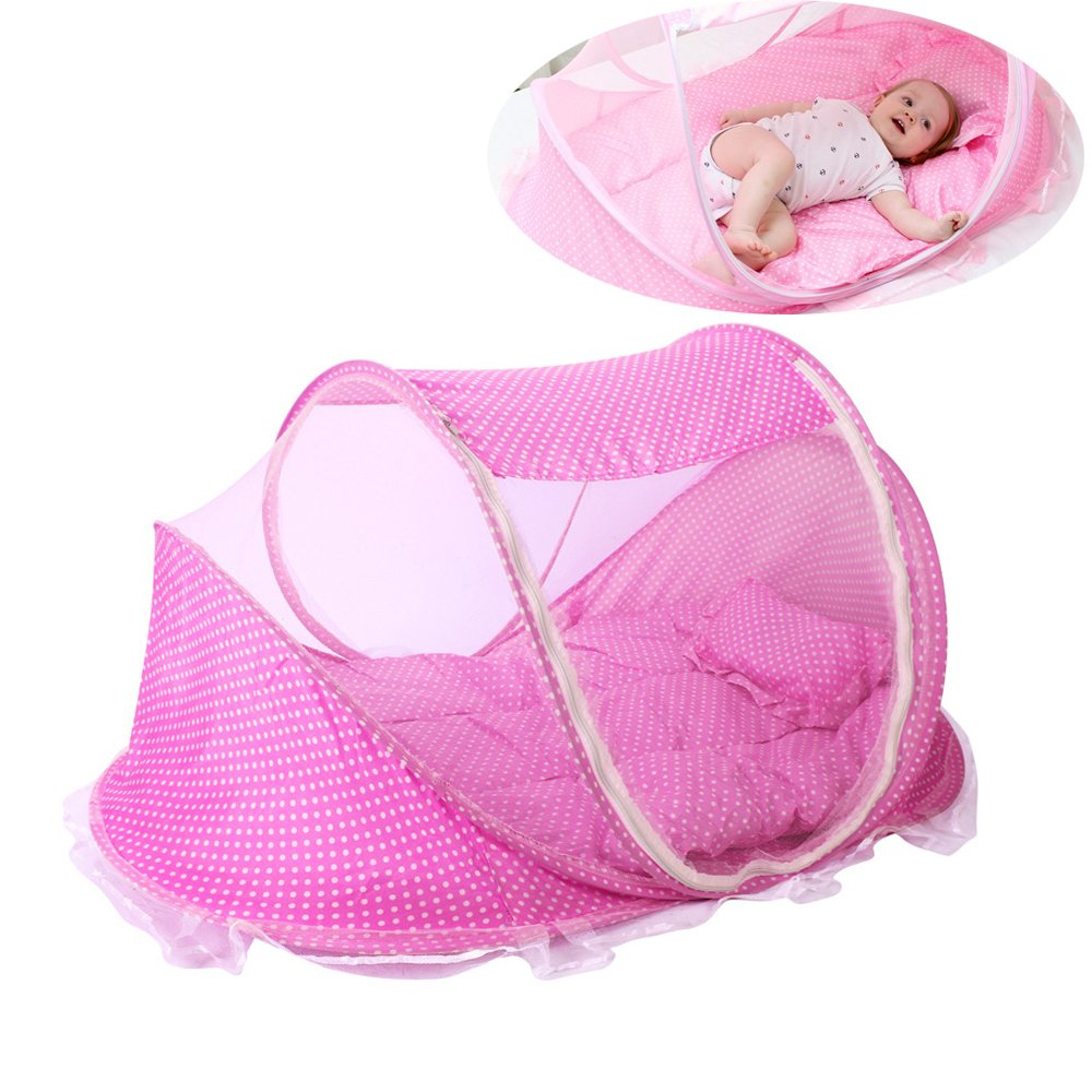 ThreeH Infant Travel Bed Baby Beach Tent Portable Folding Mosquiton Net with Pillow Pad BX03,Pink