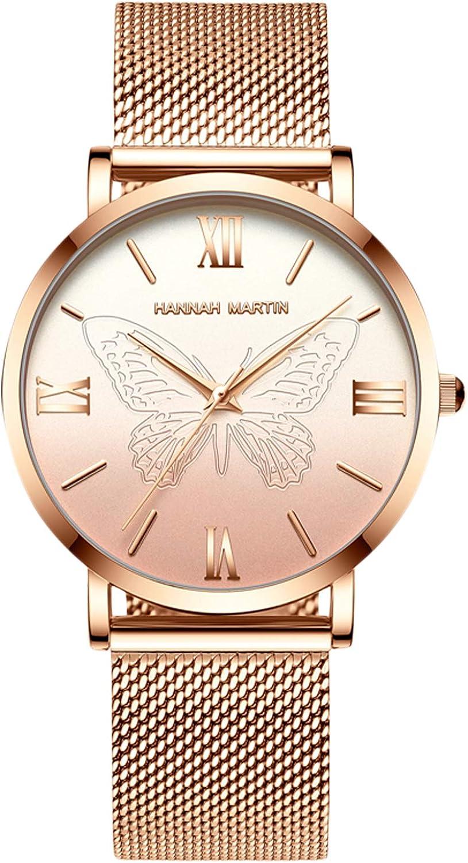 RORIOS Nueva Mujer Relojes de Pulsera Acero Inoxidable Correa de Reloj Mariposa Relojes de Mujer Reloj de Dama