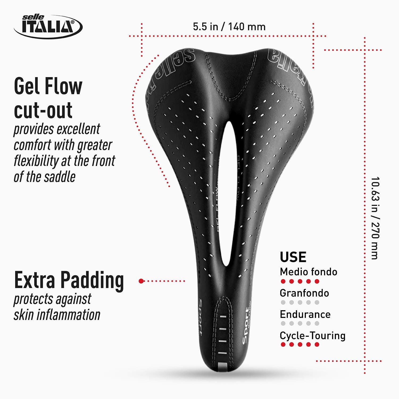 Sill/ìn Road Gran Turismo Duro-tek Amortiguador Comfort Gel Selle Italia Rail FeC Alloy /Ø7 Sill/ìn Bicicleta de Carretera Sport Gel Flow