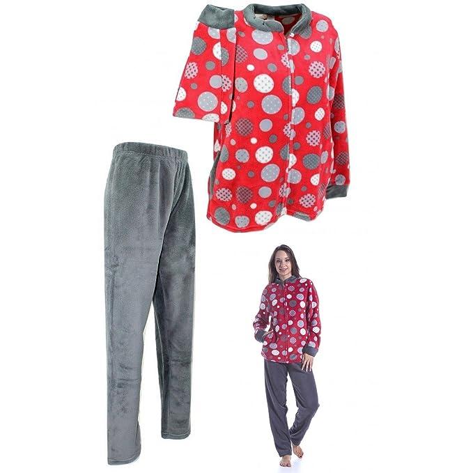 b613d88935 Pigiama Donna Baci di Notte Caldo Pile Coral M-L-XL-XXL Aperto con Zip  30215: Amazon.it: Abbigliamento