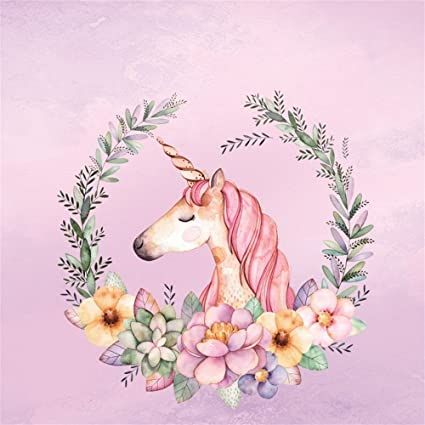 Amazon laeacco 6x6ft unicorn backdrop cartoon flowers wreath laeacco 6x6ft unicorn backdrop cartoon flowers wreath pink background for photography girls princess happy birthday party mightylinksfo