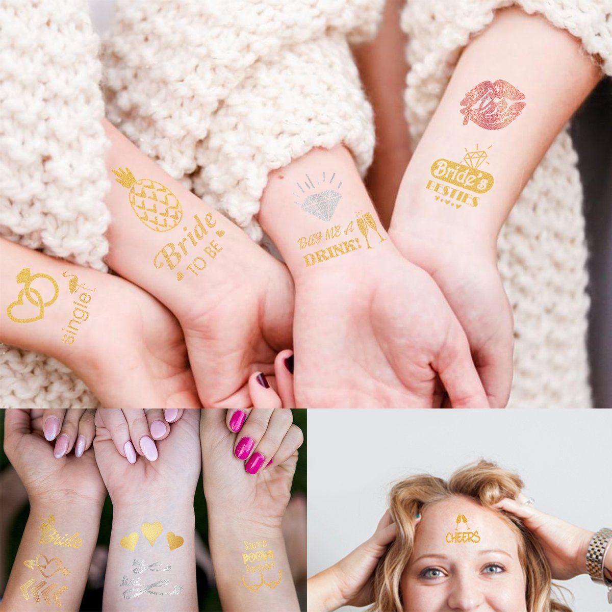 Amazon.com : Unomor Bachelorette Tattoos Bride Tribe Tattoos for ...