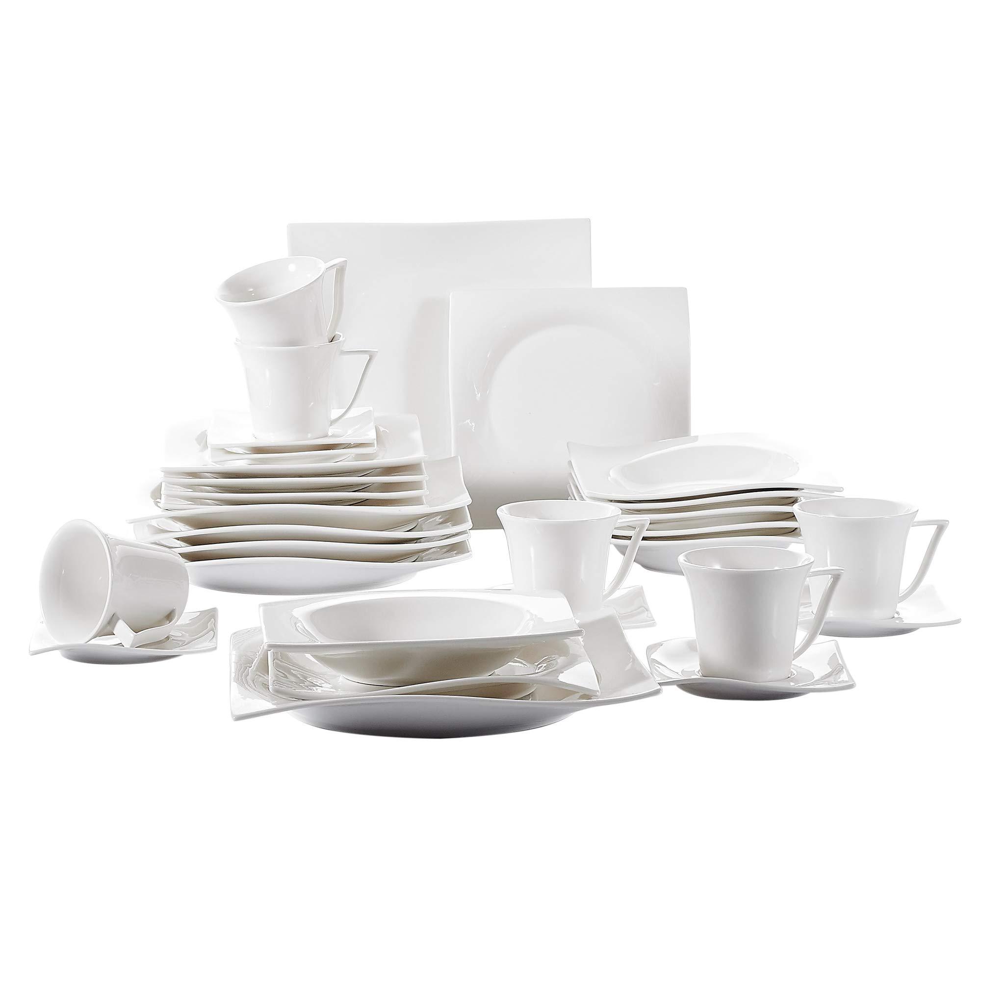 Vancasso Porcelain Dinnerware Set of 6, Cream White Glazed Cups Saucers Plates Dinner Service Set for Dessert Soup Catering, 30-Pieces