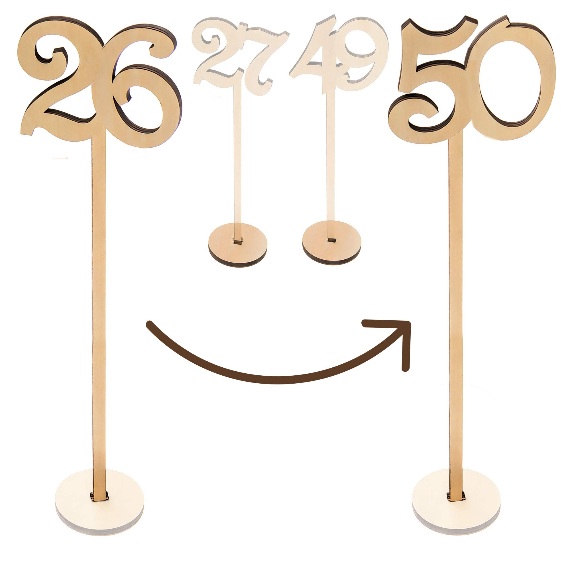 Merry Expressions - Wooden Wedding Table Numbers 26-50 Pack - 13.5'' Tall Large Extra Thick Heavy Duty Commercial Grade Quality Wood - Best for Receptions, Banquets, Cafés, Restaurants, Hotels, Parties by Merry Expressions