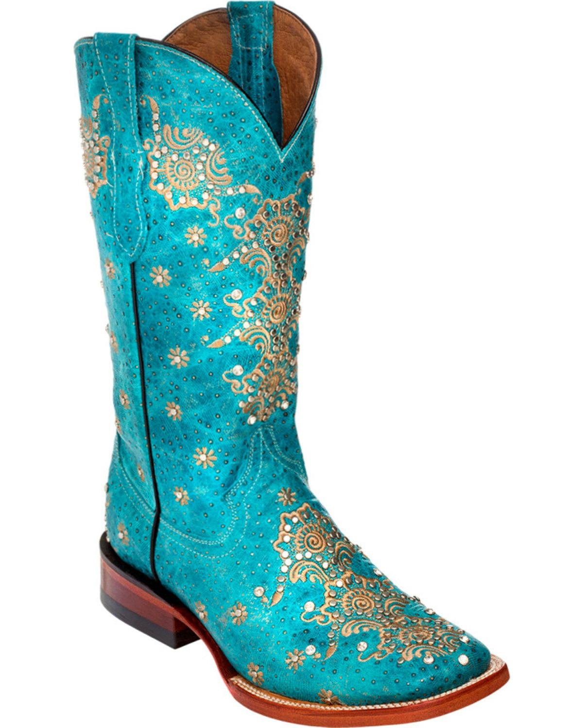Ferrini Women's Turquoise Country Lace Cowgirl Boot Square Toe - 8289350 B01DW5BRQU 7.5 M US|Turquoise