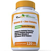 RaeSun Botanics High Dose Vitamin C + Zinc Complex for Immune Support Health 120...