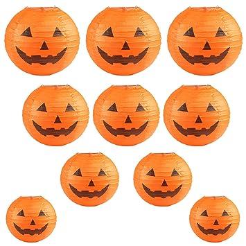 Kesoto Halloween Linternas De Papel Redondos 10 Farolillos Con - Calabaza-de-papel