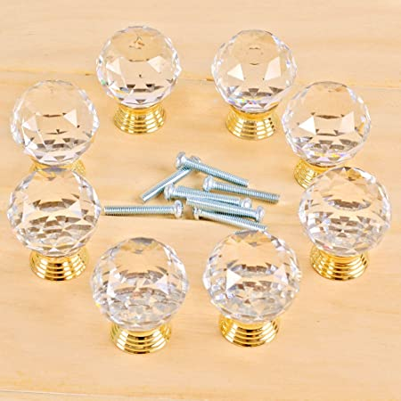 30mm clear Cut crystal alloy gold base cabinet drawer handle knob screw