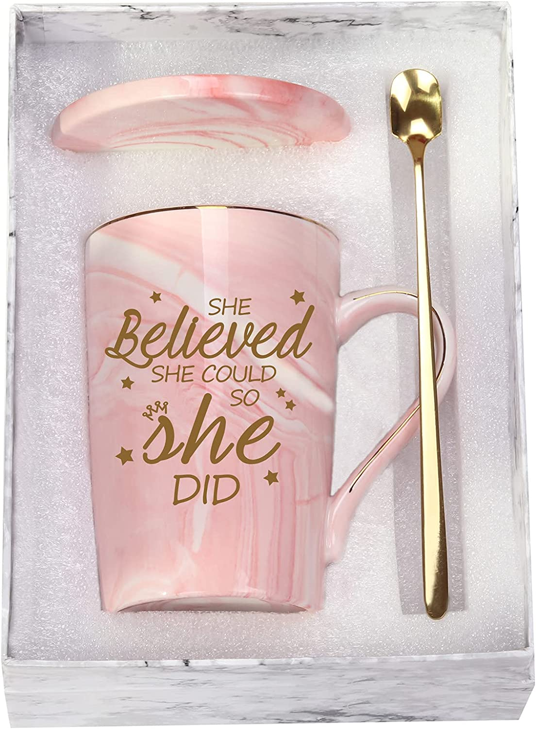 She Believed She Could So She Did Mug Graduation Gifts for Women Her Inspirational Gifts for Women 14 Ounce Pink with Gift Box Set