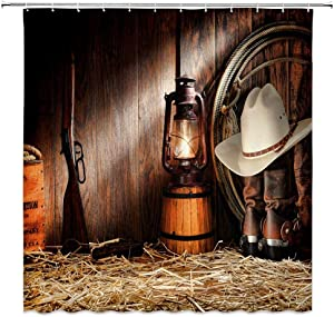 Western Shower Curtain West Radeo Cowboy Hat Winchester Boots Rustic Barn Wooden Farmhouse Bathroom Decor Set with Hooks,71X71 Inchs,Polyester Brown Yellow