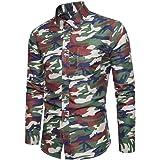 SanKidv-Herren Hemd T-Shirt Slim Fit Persönlichkeit Männer Casual Schlank  Langarm Patchwork Shirt 762502811c