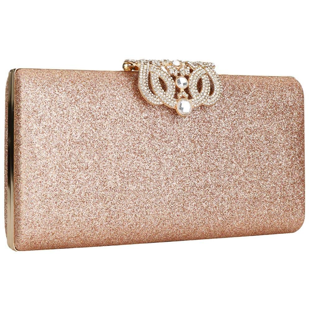 Womens Shimmering Diamante Glitter Ladies Evening Party Prom Wedding Clutch Bag