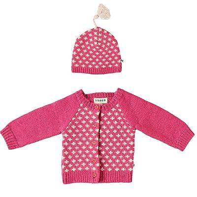 BEBOBIO - Cardigan et Bonnet Fille en Laine Baby Alpaga coloris Fuschia - taille : 12 mois (80cm)