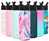 Simple Modern 18oz Summit Water Bottles with Straw Lid - Vacuum Insulated Tumbler Double Wall Travel Mug 18/8 Stainless Steel Flask - Pattern: Pink Sea Marble
