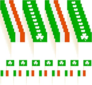 ATROPOS 200 Pack St. Patrick's Day Cupcake Toppers Ireland Flag Toothpicks Shamrock Flag Cupcake Picks for St Patrick's Day Party Supplies Cake Decoration